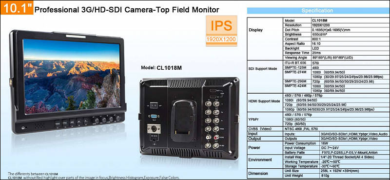 Neway CL1018M On Camera SDI Monitor - Personal View Talks