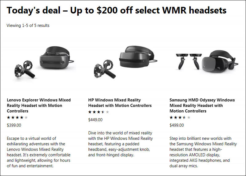Microsoft WMR VR headsets deal - Personal View Talks